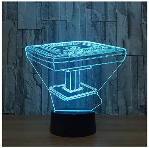 Nachtlicht für Kinder 3D Nachtlicht Mahjong Spieltisch 7 Farbwechselnde Touch Table Schreibtischlampe für Kinderzimmer ABS-Basis,USB-Kabel für den Urlaub