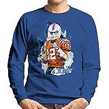 VINTRO Tom Brady Patriots Sweat-shirt pour homme Motif portrait original par Sidney Maurer -  Bleu - Small