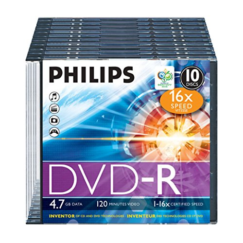 Philips DVD-R Rohlinge (4.7 GB Data/120 min. Video, 16x High-Speed-Aufnahme, 10er Slim Jewel Case)