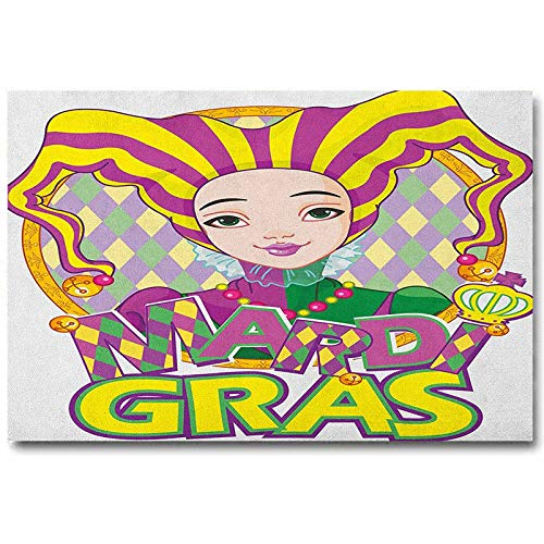 ScottDecor Mardi Gras Music Posters Carnival Girl in Harlequin Costume and Hat Cartoon Fat Tuesday Theme Easter Gifts for Girls Yellow Purple Green L30 x H60 Inch