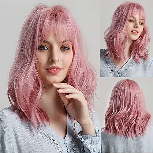 Perruques courtes perruques ondulées roses avec frange, perruque courte courbée rose pour femme, synthétique naturel Cosplay Pastel Perruques 15inch (rose)