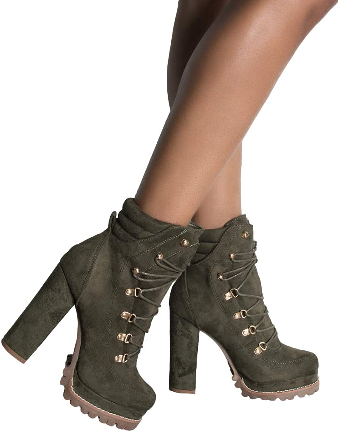 AKIRA Women's Faux Suede Padded Ankle Collar Lace Up Lug Sole Platform Chunky Heel Boots