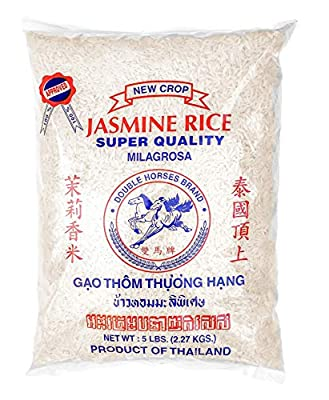 DOUBLE HORSES Jasmine Rice Long Grain White Rice,5 Pounds Bag