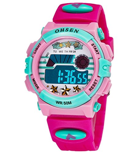 Infantil Niños Niñas Reloj Deportivo Digital Resistente al Agua Multifunción Led Al aire libre Reloj De Pulsera Rose