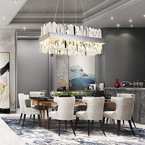 no-branded Sygjal Restaurante Creativo Dormitorio Rectangular Crystal Lighting Nordic Simple Chandelier Long 80 * Wide 40 * High 30cm (Size : 80 * 40 * 30cm)