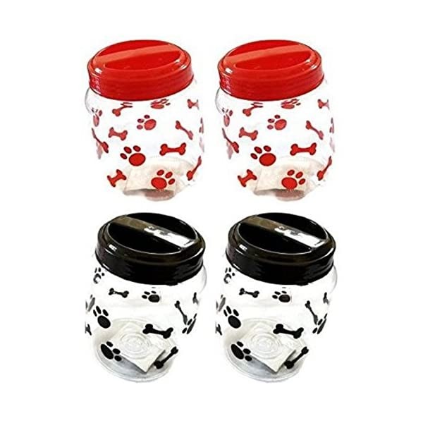 Greenbrier Pet Food Treats Plastic Storage Jars, Paws and Bones, Dogs and Cats, 4-jar...