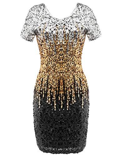 Coucoland Damen Pailletten Kleid V Ausschnitt Kurz Ärmel 20er Jahre Flapper Glitter Cocktailkleider Damen Halloween Karneval Fasching Kostüm Kleid (Silber Schwarz Gold, S)