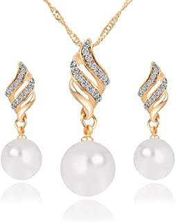 Pearl Crystal Jewelry Sets For Women - Necklace and Earrings Jewellery Set