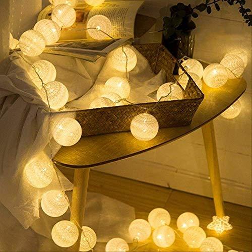 No Brand Cotton Ball String Light Fairy Light Interieurdecoratie slinger kerstfeest bar slaapkamer licht 1,5 Mt 10 LEDs USB engel wit