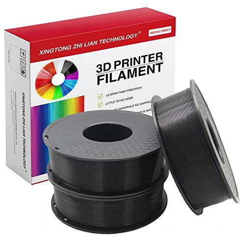 PLA 3D-Drucker-Filament, 1,75 mm, 3D-Druck-Filament, PLA für 3D-Drucker und 3D-Stift, metallische Farbe, PLA-Filament, Maßgenauigkeit +/- 0,02 mm, 1 kg, 1 Spule(3Pcs Schwarz)