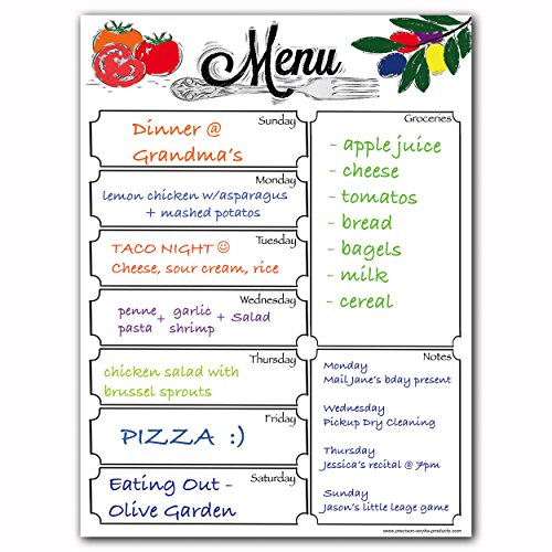 Magnetic Menu Dry Erase Weekly Meal Planner Board for Refrigerator - Includes Grocery List and Notes Section (Menu Whiteboard)