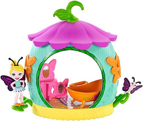 Enchantimals FXM97 - Blütenpark Kokon Badezimmer mit Schmetterling Figur Baxi Butterfly und Wingrid, Mädchen Spielzeug ab 4 Jahren