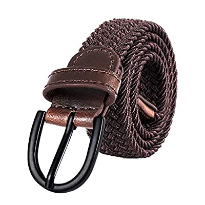 "Junior Braided Stretch Elastic Belt |Pin Buckle | PU Loop End Tip | Boys Girls | 1"" width (Brown, Small 20"" (26"" Length))"