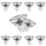 Wowatt MR16 LED 12V Blanco Frio 6000K Bombillas LED MR16 GU5.3 12V 6W Equivalente a 40W Halogeno Spot GU 5.3 GX5.3 480LM Ojo de Buey 120º Ángulo de haz No Regulable, Pack de 10