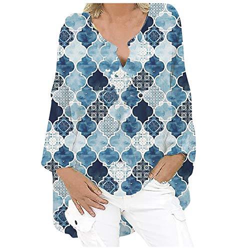 Camisa de lino para mujer de gran tamaño, blusa de lino, manga larga, cuello en V, camiseta larga, blusa de lino, túnica, suelta, para verano, tiempo libre Azul marino. L