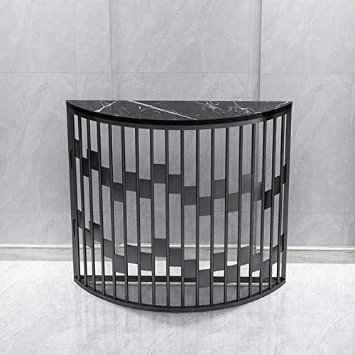 Multifunction Semicircle Console Tables, Marble Easy To Clean Side Tables Wall End Tables Hotel Corridor Console Tables For Hallway Slim(Size:80 * 25 * 80CM,Color:black)