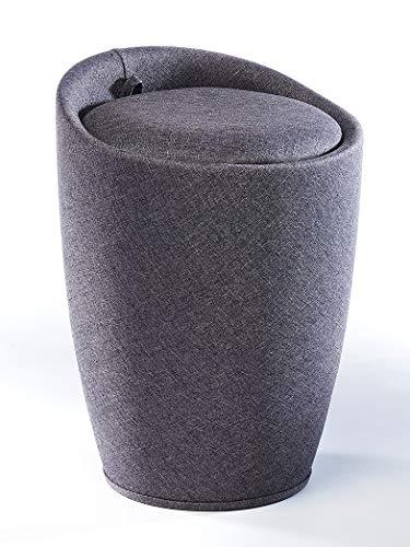 Kobolo Wäschesammler Badhocker - dunkelgrau - Textilcover - gepolsterte Sitzfläche - 36x36x50 cm