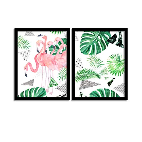 Painting Mantra Set of 2 Tropical Flamingo Matte Art Print, Painting for Home Décor,Paintings with Frame for Living Room(13.5...