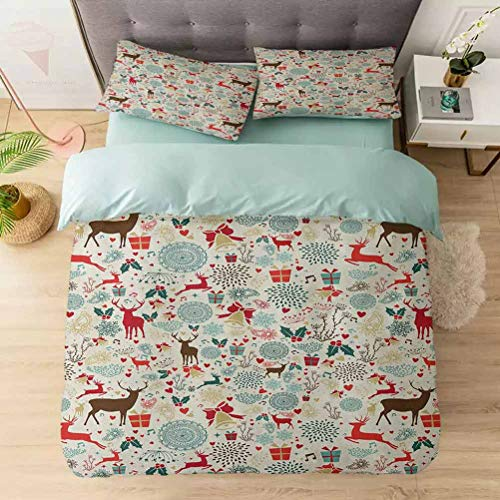 Aishare Store 3 Pieces Duvet Cover Set, Vintage Xmas Theme Icons Hearts Jingle Bells Deer Floral Details, Printed Duvet Cover Set with Ultra-Soft Microfiber, Petrol Blue Red Brown