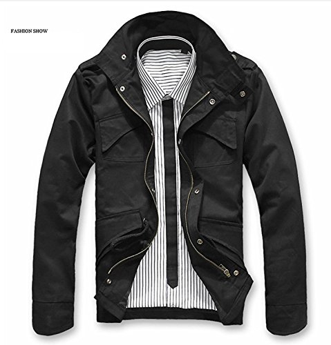 Royal Wind Men's Fashion Jackets New Military Casual Jacket Zip Button Coat, Black, US:M/Asia Tag XL