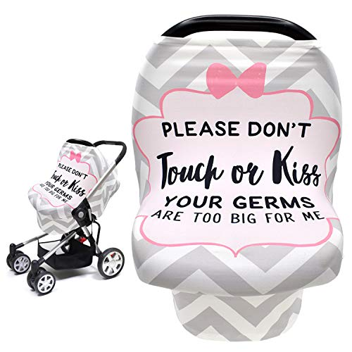 No Touch Sign Car Seat Cover for Babies, Mom Privacy Breastfeeding Scarf Shawl,Multi Use Infant Carseat Canopy for Blanket/Shopping Cart/High Chair/Stroller, Newborn Baby Shower Gifts for Boy Girl