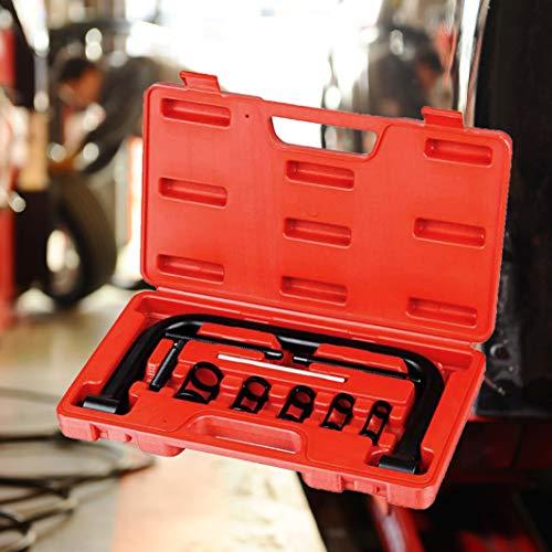 Todeco 11-teiliger Werkzeugkasten für Ventilfeder, Ventilfeder-Spanner, Ventilfederpresse Satz mit rotem Koffer, 11 Teile, Material: C45 Stahl, Gehäusegröße: 33,5 x 19,5 x 5,5 cm