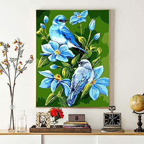 DIY Schilderen op nummer Handgetekende frameloze schilderij van twee vogeltjes in orchidee bush40x50cm