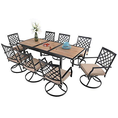 PHI VILLA Patio Dining Set 9 Pcs 1 Extendable Dining Table and 8 Swivel Chairs Support 300 lbs for Outdoor Backyard Bistro Furniture Set with Cushion