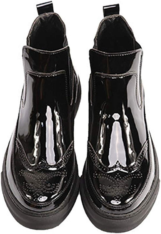 Qiusa Mens Atmungsaktive Komfort Stiefel Polierte Lackleder Weiche Sohle Haltbare Stiefel (Farbe   Schwarz, Größe   EU 40)