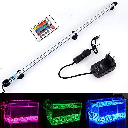 MLJ RGB Aquarium Beleuchtung, LED Aquarium Leuchte 71 cm Wasserdicht Aquarium Lampe Stecker EU Unterwasser LED-Lichtbalken für Fisch Tank mit Fernbedienung (RGB)