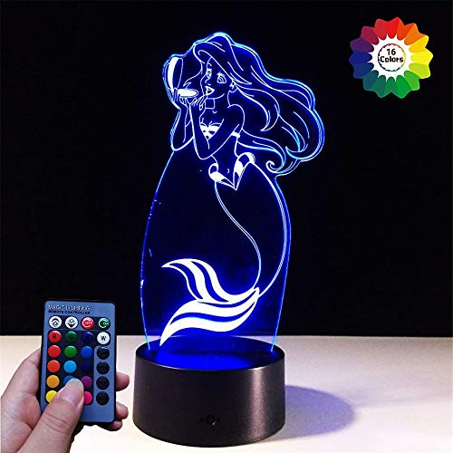 3D Sirène LED Lampe Art Déco Lampe lumières LED Décoration Lumière Contrôle à distance 7/16 couleurs Change Alimenté par USB Enfants Cadeau Anniversaire Noël Cadeau