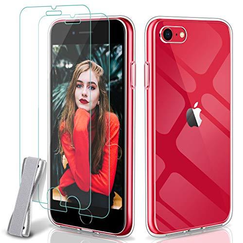 Younme Cover per iPhone SE (2020) Custodia, Trasparente Sottile Silicone Case + [2 Pack] Pellicola Protettiva in Vetro Temperato [con Antiscivolo Mano Cinturino] per iPhone SE 2020/ iPhone 7/8 -clear