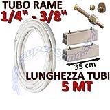 Kit montaggio condizionatore - 5mt rame 1/4' + 3/8' con basi per unità esterna lunghezza 35cm