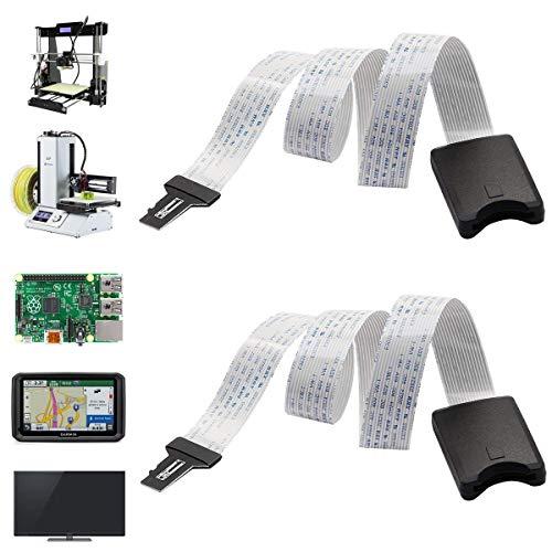 Dancepandas SD Card Extension 2PCS 48CM Micro SD a TF Tarjetas Cable Alargador Adaptador Flexible Extender SD To SD Cable de Extensión para Mini Impresora 3D/GPS de Coche/Pantalla LCD