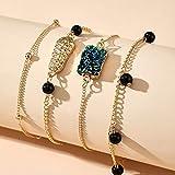 xingguang Pulsera Europa América ins estilo caliente colorido oro cacahuetes negro cuentas pulseras vintage retro 4 pulseras para mujeres encanto pulsera (color metal: 14008)