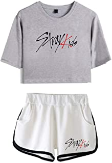 FEIRAN Stray Kids Boy Band Short Shorts de Manga Corta para Mujer y niña Top + Shhort Set C Grey + White XS