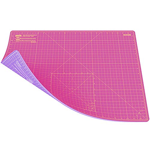 Esterilla de corte Ansio A2 doble cara, 5capas, auto reparadora, 43 x 58 cm, color rosa y lavanda púrpura