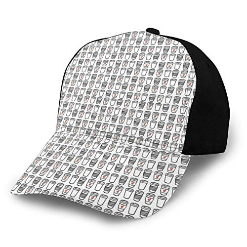 Hip Hop Sun Hat Baseball Cap,Coffee Cups to Go with Doodle Style Stripes and Heart Symbols Modern Romance,for Men&Women