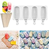 Silicone Ice Cream Mould Pop Ice Lolly Mold Maker Frozen Dessert Popsicle Tray Home Kitchen Tools Pan + 10pcs Wooden Sticks (Large)