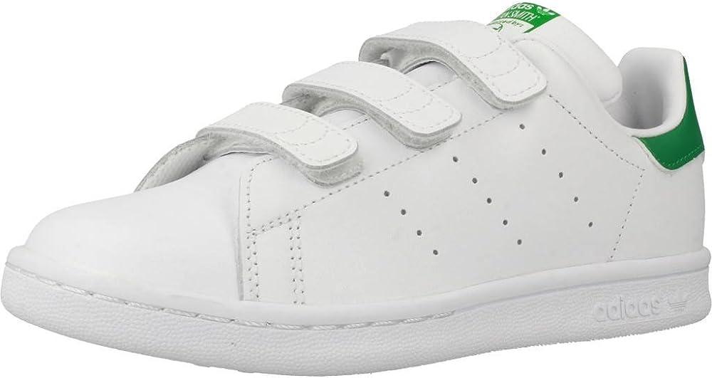 Adidas originals stan smith cf c, scarpe da ginnastica unisex-bambini,sneakers,in pelle morbida M20607