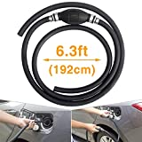 Siphon Pump for Gasoline,NORSMIC Gas Siphon Pump,Syphon Hand Pump for Various Liquid Transfer Like Fuel/Water/Gas/Gasoline/Oil/Petrol/Diesel,6.3 Feet Long,Rubber,Black