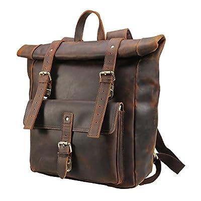 "Polare Retro Full Grain Leather 17"" Laptop Backpack Travel Bag Large Capacity For Men with YKK Zipper"