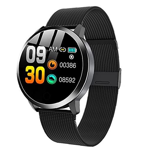 Smart Watch Smartwatch mit Herzfrequenztest.Smart Uhren Q8 Wasserdichte Smart Armband mit Metallband Herzfrequenztest Schritt Zähler Menstruationszyklus für Frauen schwarz