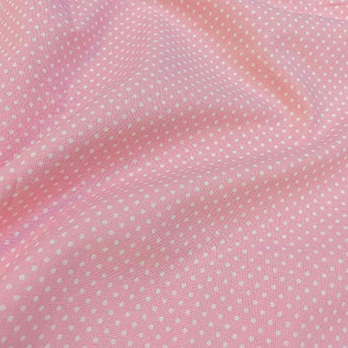 Tela popelín por metros - 100% algodón - 150 cm ancho - Largo a elección de 50 en 50 cm - Ropa y accesorios de bebé   Topo blanco, rosa