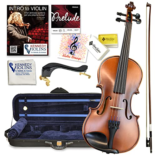 Antonio Giuliani Etude Violin Outfit 4/4 Full Size Clearance By Kennedy Violins - Carrying Case and Accessories Included - Solid Maple Wood and Ebony...