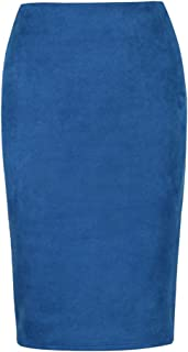 Sexy Multi Color Suede Midi Pencil Skirt Women Elastic High Waist Office Lady Bodycon Skirts
