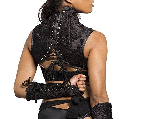 Shoulder Corset with Gloves Goth Black High Collar VICTORIAN STEAMPUNK shrug (XLarge)