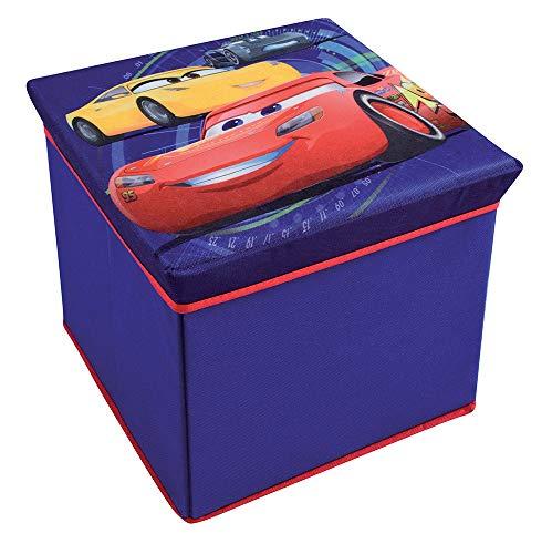 FUN HOUSE 712768 Disney Cars Tabouret de Rangement pour Enfant, Untisse/MDF, Bleu, 30 x 30 x 30 cm