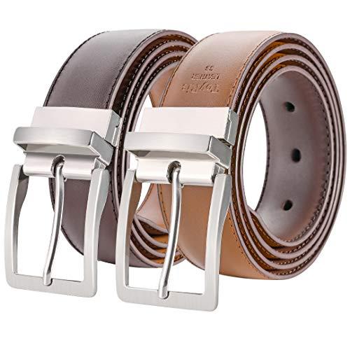 "ToyRis Mens Belt Leather Reversible Belt 1 3/8"" Width for Mens Casual Dress Belt One for 2 Colors (Brown/Cognac, 46"")"
