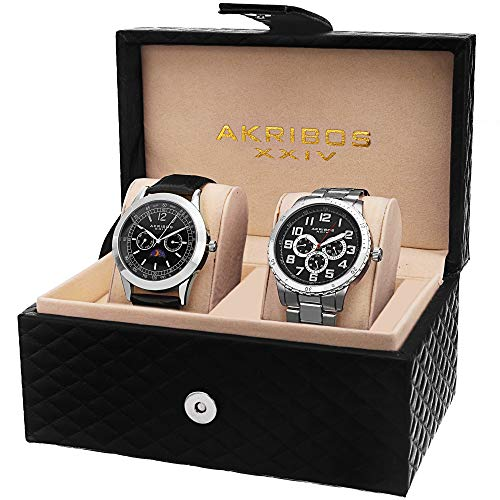 Akribos XXIV Men's 2 Watch Set - 2 Multifunction Watches 1 on Stainless Steel Bracelet and 1 On Crocodile Pattern Leather - AK740